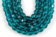 50 Fire Polished Czech Faceted Dark Aqua Round Craft Glass Beads 6mm
