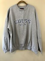 Vintage Vtg Guess Jeans USA Embroidered Spell Out Crewneck Sweatshirt 2XL XXL