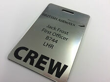 PERSONALISED AIRLINE CREW TAG ANY AIRLINE LASER ENGRAVED SILVER OR GOLD