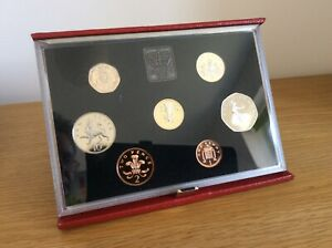 1985 Proof coin set in Delux red leather case.