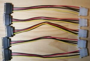 New 5 Pack SATA Power Male to Molex  Female Adapter Converter Cable, 7-Inch
