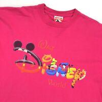 VTG 90s Walt Disney World T-Shirt Mickey Goofy Pooh Pluto Donald Tigger • Large