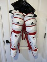 """Adidas Pro Series Catcher's Leg Guards 2.0 15.5""""DH2544 white and red"""