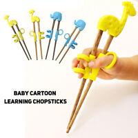 Cute Children Chopsticks For Kids Cartoon Wood Reusable Learning Training New 66