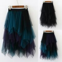 Women High Waist Ruffle Mesh Tutu Skirt Mesh Sheer Net Tulle Pleated Party Dress