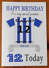 "KILMARNOCK FAN Unofficial PERSONALISED Football Birthday Card (""KILLIE"")"