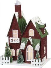 New!~Lighted Christmas Snowy Red House~Bottle Brush Bristle Trees Sitter~Vintage