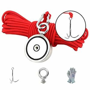 MHDMAG Double Sided Magnet Fishing Kit with Grappling Hooks and Gloves, 1000lbs