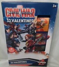 Marvel Captain America Civil War 32 Valentines with 32 Stickers New