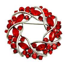 BROOCH Red Garland Rhinestone Crystal Pin-on Brooch  Gift for Mum