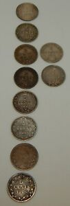1872-1929 New Foundland 5 Cent Coins - Lot of 10