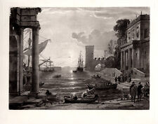 "Strong Claude LORRAIN 1800s Engraving ""Queen of Sheba's Sunrise Departure"" COA"