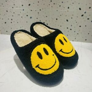 WOMENS New Flat Sandals Flatforms Faux Fur SMILE FACE Slides Comfy Fluffy Winter