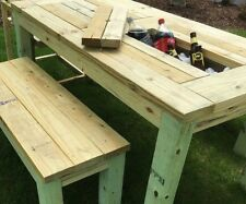 wooden garden bench with storage. Made to order