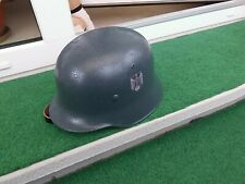 Stahlhelm M-35 feldgrau,Innenfutter und Kinnriemen aus Leder