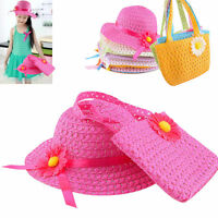Beach Hats Bags Girls Kids Flower Straw Hat Summer Hat Cap Tote Handbag Bag Suit