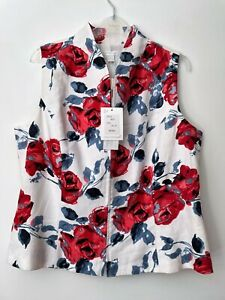 Tina Taylor White Linen Floral Print Top Size 16 18 RRP £65
