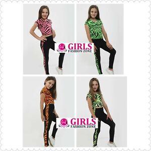 Girls Neon Zebra Print Short Sleeves Top & Zebra Side Print Full Legging Set