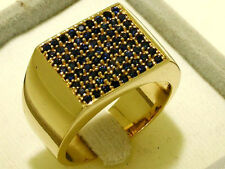 MR54 SOLID Genuine 9K Gold NATURAL Sapphire HUGE Men's Pave Ring size T / 9.75