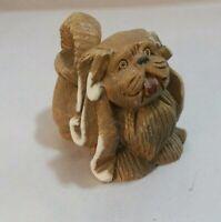 "Vintage Artesania Rinconada Shaggy Dog Clay And Enamel Figurine 2.5"" Tall"