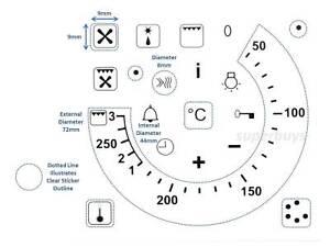 19pcs Symbols + 50-250 Degree Temperature Oven Grill Adhesive Knob Sticker Label