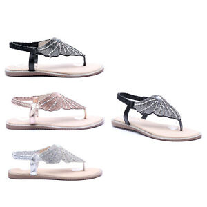 WOMENS LADIES COMFORTABLE FLAT ANGEL WING BUTTERFLY DIAMANTE STRAP SANDALS UK