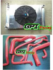 Aluminum Radiator +Shroud +fan +RED HOSE Holden V8 Commodore VG VL VN VP VR VS