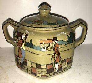 Buffalo Pottery Deldare Village Street Fairfield Hunt Sugar Jar RARE