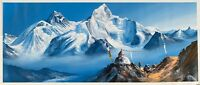 MOUNT EVEREST FROM BASE CAMP, ORIGINAL ACRYLIC PAINTING ON CANVAS 11 x 26-INCH