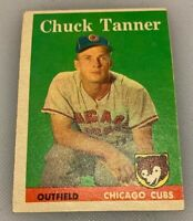 1958 Topps # 91 Chuck Tanner Baseball Card Chicago Cubs