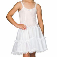 Girls White Bouffant Full-Slip Petticoat - Lace Embellished, (4 -14)