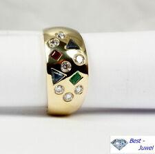 Verspielter  Ring in 585 Gold mit Safir, Rubin, Smaragd und Brillant 0,31 ct.