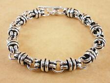 """Men Women Byzantine Bali 925 Sterling Silver Bracelet Chain 7mm 7.5"""" Inch 17g"""