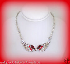 SILVER ANGEL WING RED RHINESTONE CRYSTAL NECKLACE~CHRISTMAS GIFT FOR HER WOMEN