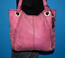 FOSSIL HATHAWAY Large Purple Leather Tote Distressed Purse Shoulder Shopper Bag