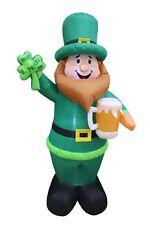 St Patrick's Led Air Blown Inflatable Yard Decoration Leprechaun Shamrock & Beer