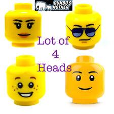 LEGO 4) Heads Male Female Boy Freckles Black Sunglasses Peach Lips Smile NEW