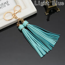 DOUBLE TASSEL BAG CHARM KEYRING GOLD TURQUOISE BLUE