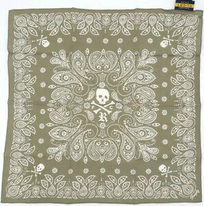 Ralph Lauren RL Rugby FC Skull and Bones Bandana Handkerchief 22x22 Cotton Olive