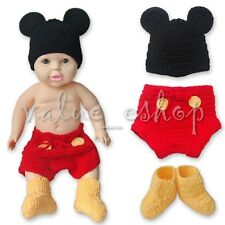 Newborn Baby Boys Mickey Mouse Costume Crochet Knit Xmas Outfit Photo Prop 6-12M