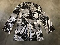 Womens Kimono Blouse Black White Asian Floral Top - SZ XS