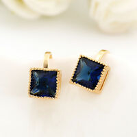 Lady New 18K Gold GP Blue Sapphire Square 10mm Clip Earrings Jewelry Stunning