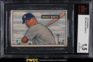 1951 Bowman Mickey Mantle ROOKIE RC #253 BVG 1.5 PR