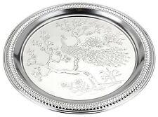 Engraved Silver Coloured Metal Tray Silver Serving Tray Tea Tray Round Tea Tray