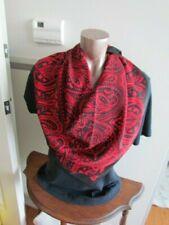 "New Silk Crepe 42"" Sq Scarf Primitive Folk Art Motif Paisley Abstract Black Red"