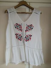Light and floaty white Marks and Spencers floral embroidered folk top size 12