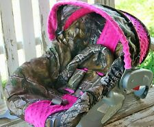 infant car seat cover and hood cover realtree with pink minky