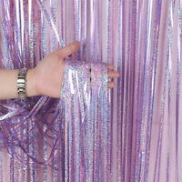 Purple Foil Curtains Chrome Metal Shimmer Curtain for Birthday Wedding Party