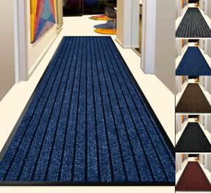 Rubber Backed Door Mat Non Slip Hall Hallway Runner Rug Heavy Duty Barrier Mat