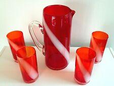 Hand Blown Art Glass Pitcher 4 tumblers Red Orange w/ White Swirl Design MCM